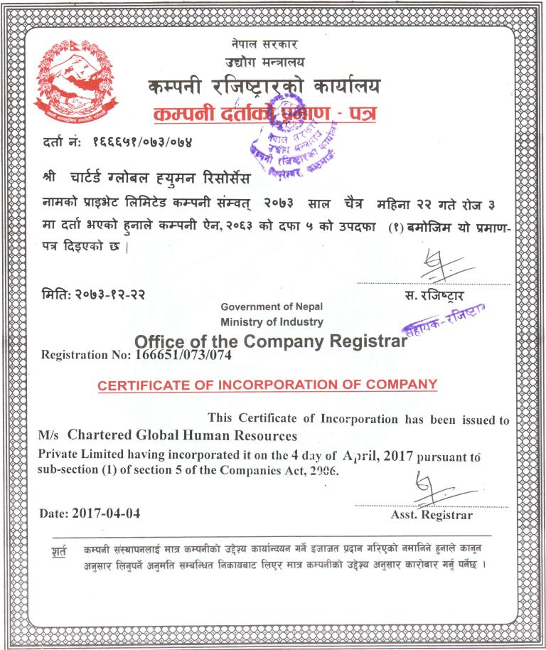 Company Registered Certificate Chartered Global Human